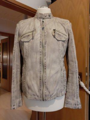 AJC Veste en cuir gris brun cuir