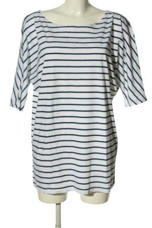 AJC Camicia lunga bianco-nero motivo a righe stile casual