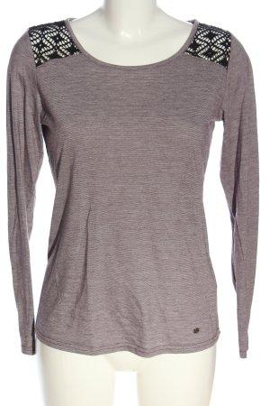AJC Top à manches longues gris clair-noir motif rayé style décontracté