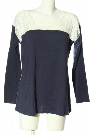 AJC Manica lunga blu-bianco sporco stile casual