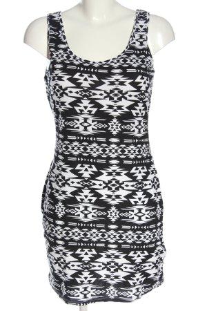 AJC Minikleid weiß-schwarz grafisches Muster Casual-Look