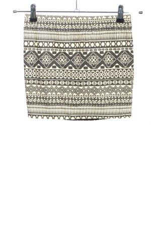 AJC Mini-jupe blanc cassé-noir motif abstrait style décontracté