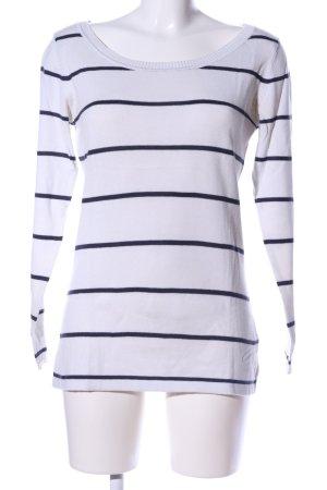 AJC Rundhalspullover weiß-schwarz Streifenmuster Casual-Look