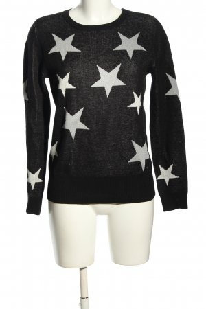 AJC Kraagloze sweater zwart-wit volledige print casual uitstraling