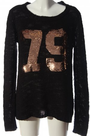 AJC Crewneck Sweater black themed print casual look