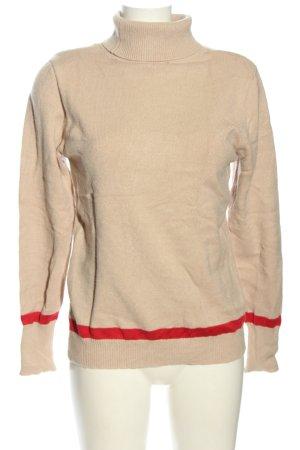 AJC Sweter z okrągłym dekoltem różowy-czerwony Wzór w paski W stylu casual