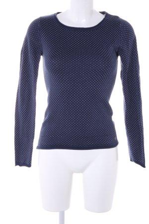 AJC Rundhalspullover blau-weiß Punktemuster Casual-Look