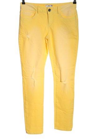AJC Pantalon strech jaune primevère style décontracté