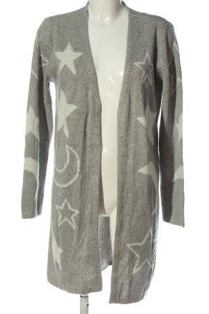 AJC Cardigan in maglia grigio chiaro-bianco Stampa a tema stile casual