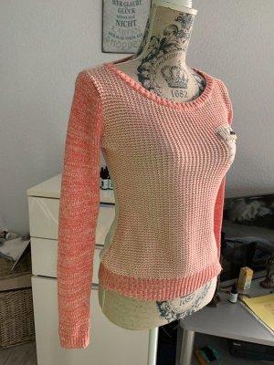 AjC Strick-Pullover - Größe XS/S 32/34 - Melange Rosa/Weiß - Brusttasche