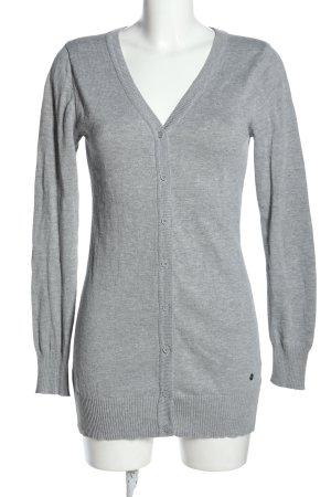 AJC Veste en tricot gris clair moucheté style décontracté