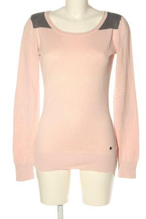 AJC Pull tricoté rose-gris clair moucheté style décontracté