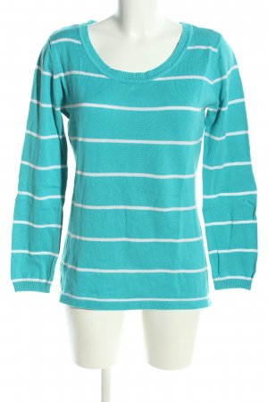 AJC Knitted Sweater turquoise-white striped pattern casual look