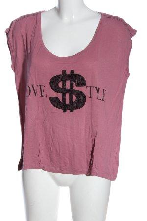 AJC Koszulka z dzianiny różowy-czarny Nadruk z motywem W stylu casual