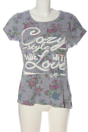 AJC T-shirt grigio chiaro motivo floreale stile casual