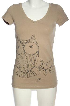 AJC T-shirt marrone Stampa a tema stile casual