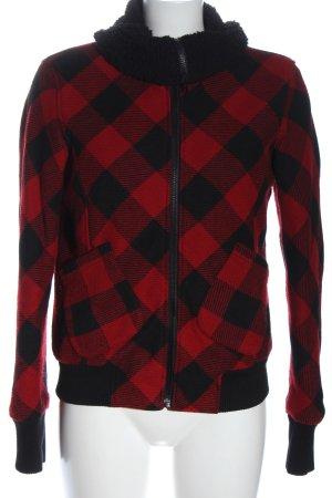 AJC Kurtka przejściowa czerwony-czarny Wzór w kratkę W stylu casual