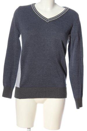 AJC V-Ausschnitt-Pullover blau-hellgrau meliert Casual-Look