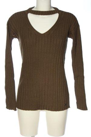AJC V-Ausschnitt-Pullover braun Streifenmuster Casual-Look
