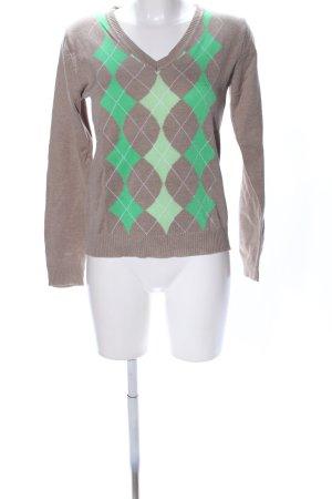 AJC Pull col en V brun-vert motif graphique style décontracté