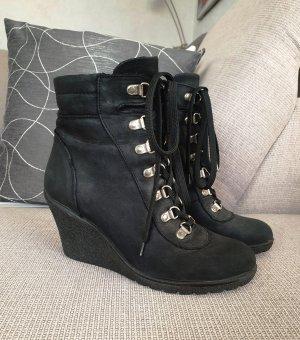 AKIRA Leder Wedges Stiefelette Ankle Boots Booties 37 (38) Keilabsatz schwarz