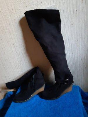 Akira Overknie Stiefel Leder Keilabsatz Gr.39,neu
