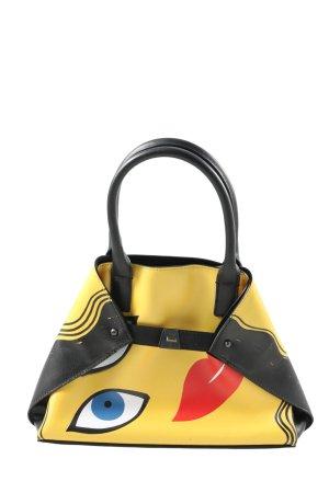 Akris Torebka mini bladożółty-czarny Nadruk z motywem W stylu casual