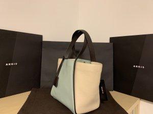 Akris Borsa shopper crema-blu pallido