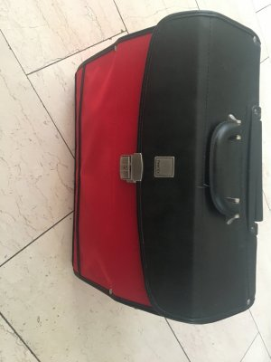 Briefcase black-dark red