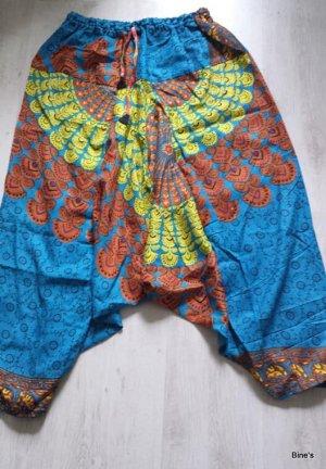 Aus Indien Pantalón estilo Harem azul-bermejo