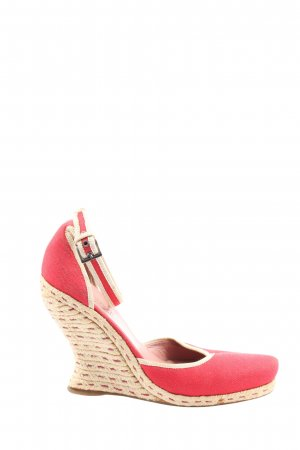 Alaïa Wedge Sandals red-cream striped pattern extravagant style