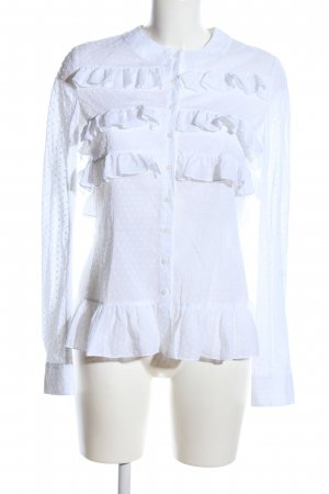 Alaïa Ruffled Blouse white spot pattern business style