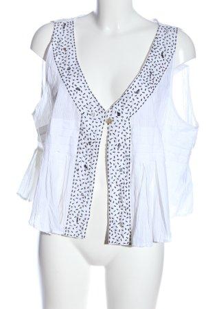 Alain Weiz Chaqueta tipo blusa blanco look casual