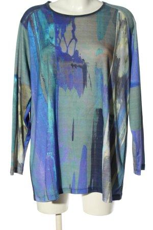 Alain Weiz Camisa larga azul estampado con diseño abstracto look casual