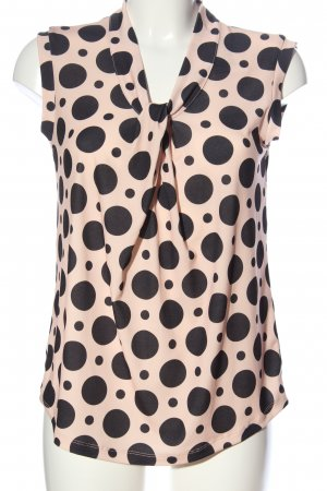 Alba Moda ärmellose Bluse creme-schwarz Punktemuster Casual-Look