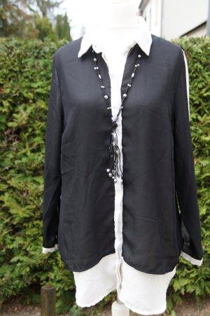 Alba Moda Long Sleeve Blouse white-black