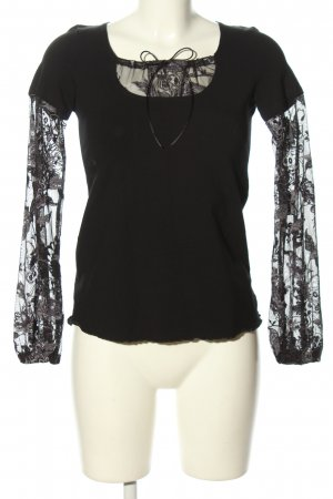 Alba Moda Empiècement de blouses noir motif de fleur style décontracté