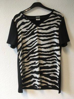 Alba Moda V-hals shirt zwart-wit Polyester