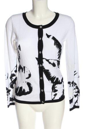 Alba Moda Cardigan bianco-nero Stampa a tema stile casual