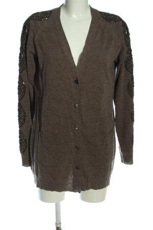Alba Moda Kardigan brązowy Melanżowy W stylu casual