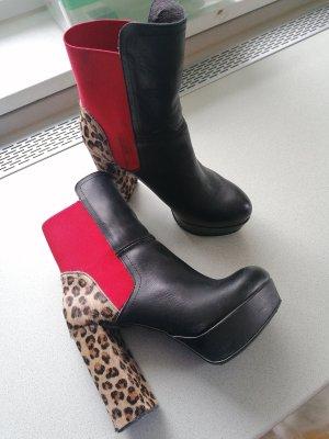 Alba Moda Ankle Boots black-brick red