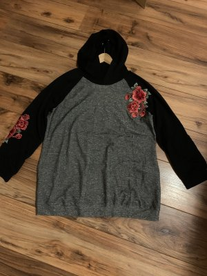 Alba Moda Hooded Sweatshirt black-silver-colored
