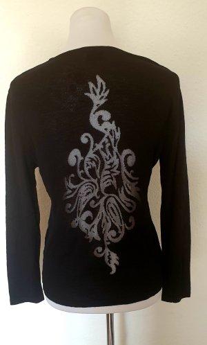 Alba Moda eleganter Ausbrenner Design Pullover transparenter Rücken langärmliger Pulli schwarz Gr 38