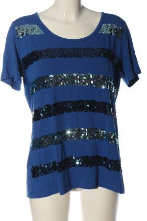 Alba Moda Glanzbluse blau Streifenmuster Casual-Look