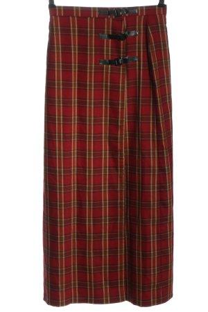 Alba Moda Jupe taille haute rouge-crème motif à carreaux style décontracté