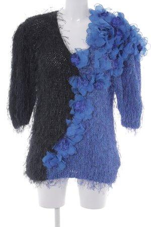 Alba Moda Sweter z grubej dzianiny Wzór w kwiaty