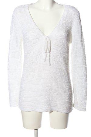Alba Moda Pull en crochet blanc style décontracté