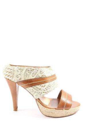 Alba Moda High Heel Sandal brown-white casual look