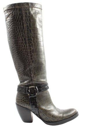 Alba Moda High Heel Stiefel khaki Animalmuster Elegant