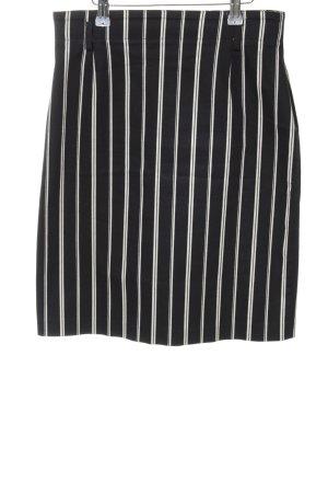 Alba Moda Falda de talle alto negro-blanco estampado a rayas look casual